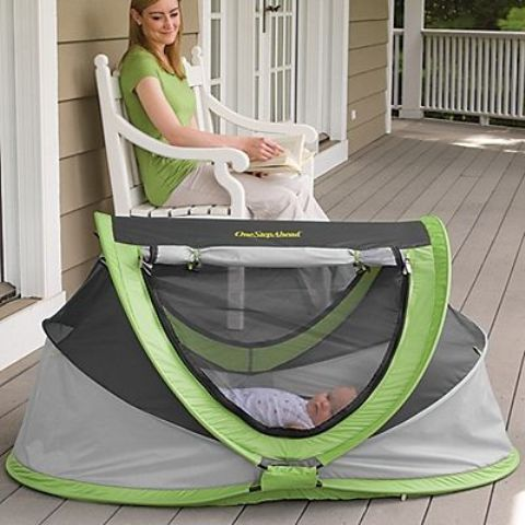 functional outdoor tent and crib in light grey and green