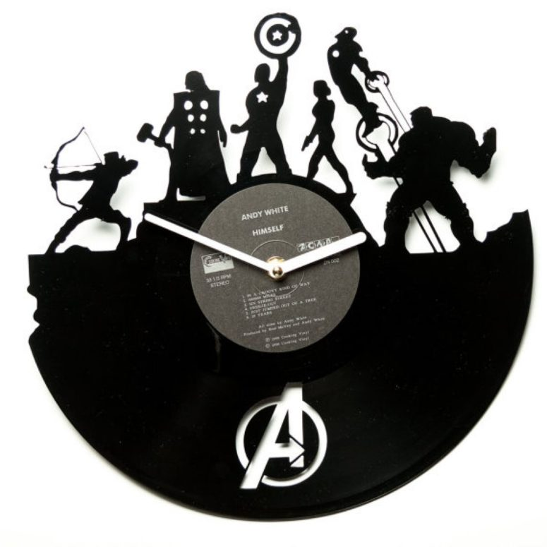 Avengers clock of an old vinyl piece has special retro charm