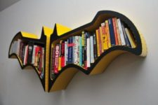 14 bold yellow and black two part bookshelf looks really spectacular