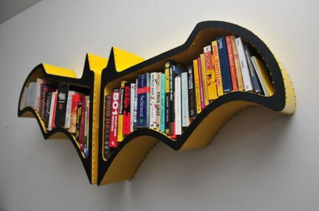 bold yellow and black two part bookshelf looks really spectacular