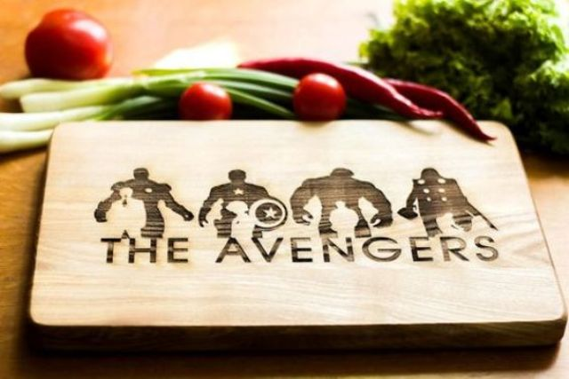 Avengers cutting board with burnt decor is a perfect way to make your kitchen superhero-inspired