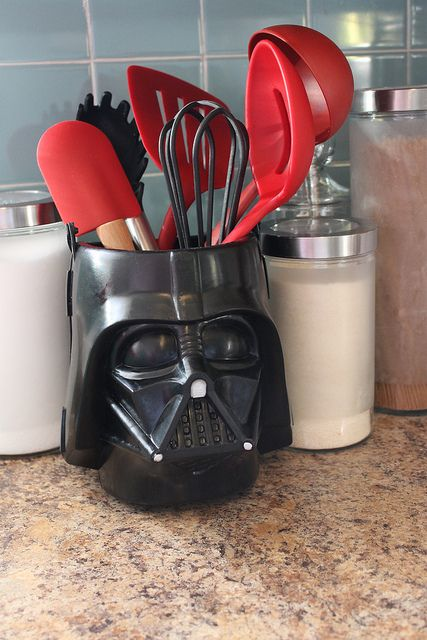 Darth Vader utensils holder is a fun touch for any kitchen