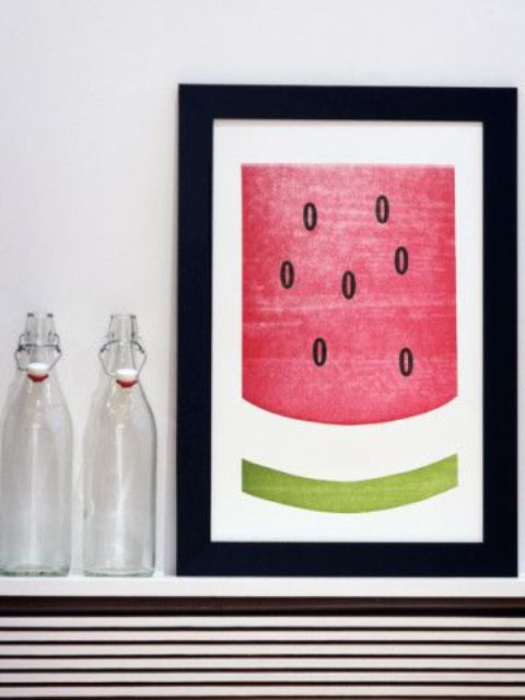 a simple watermelon wall art can be even DIYed by kids