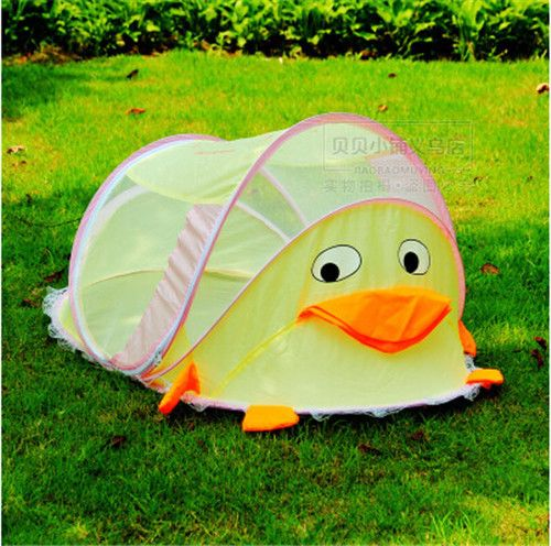 cartoon duck portable baby tent in bold yellow for your garden