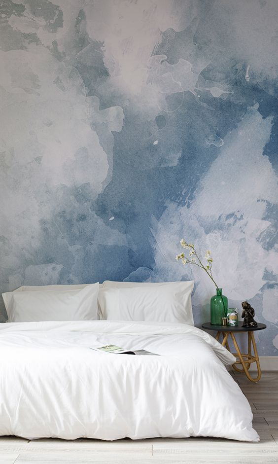 20 trendy watercolor wallpaper ideas shelterness for Blue and white bedroom wallpaper