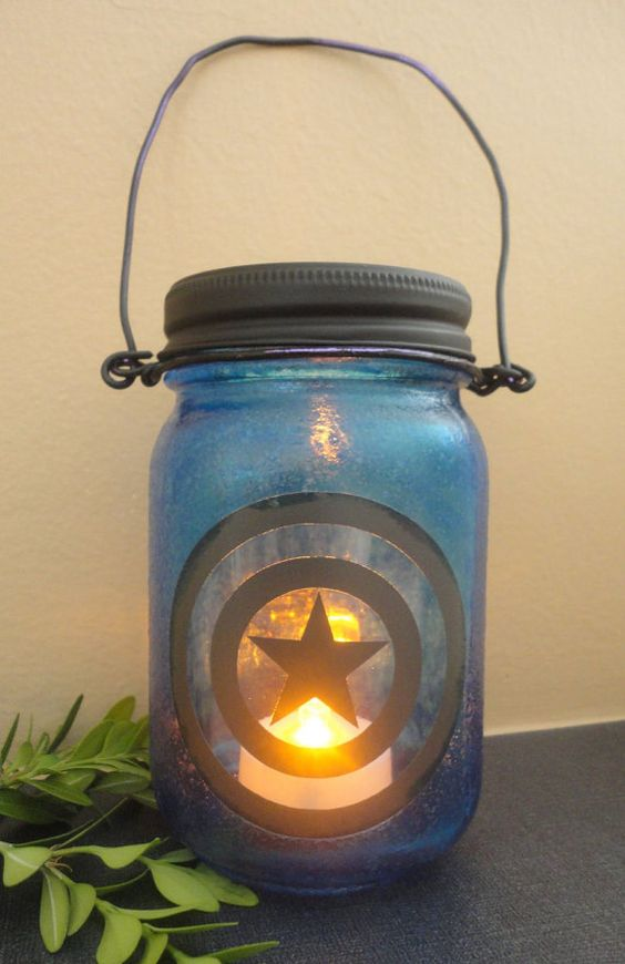 Captain America stained glass candle lantern
