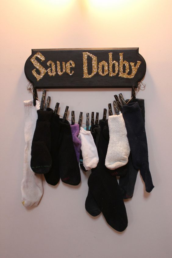 a sock holder with a glitter Save Dobby sign will be a cheerful piece for a kids room