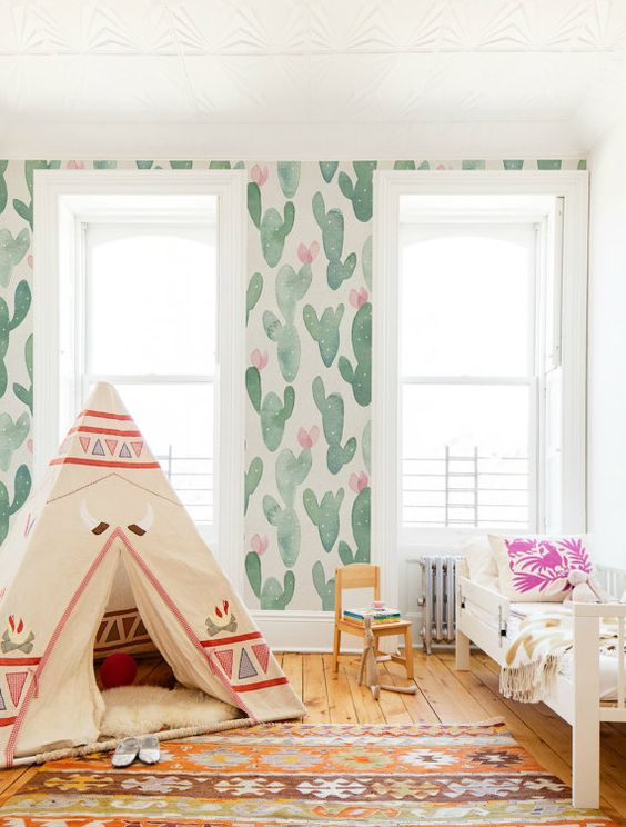 watercolor cactus wallpaper for a desert-inspired kids' room