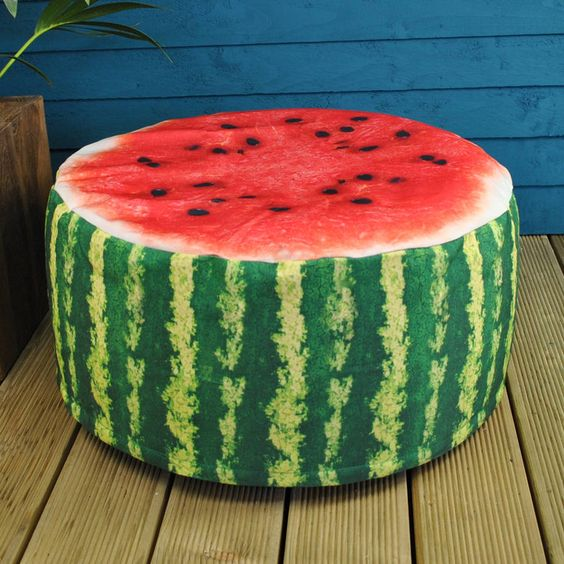 watermelon pouf garden seat to add your outdoor spaces a summer feel