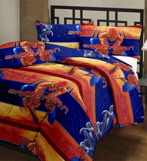 Spiderman bedding in bold blue and orange