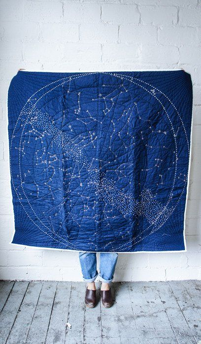 bold blue constellation quilt looks wow
