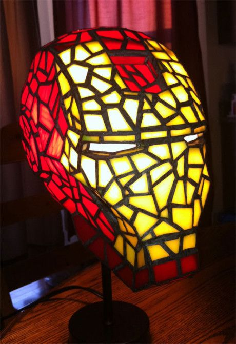 mosaic Iron Man head table lamp looks wow and will make a statement in any space