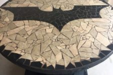 18 Batman logo mosaic round table looks wow and can be handmade by you