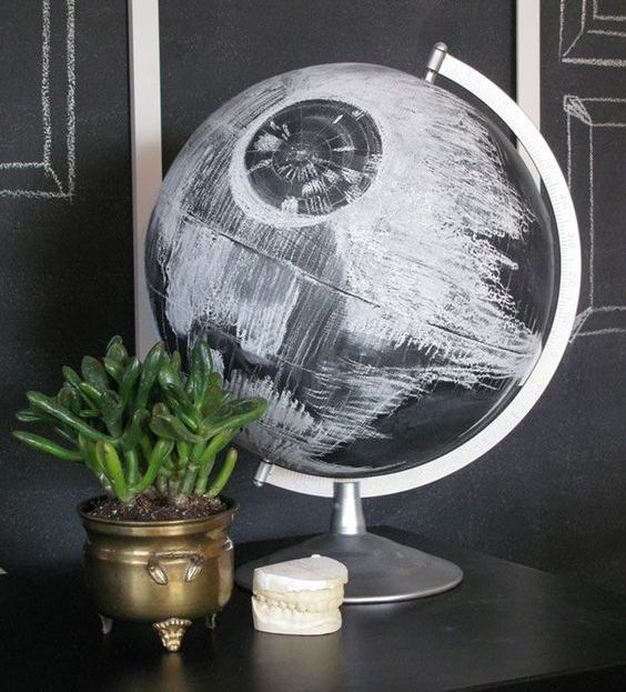 a Death Star globe is a great idea that can be DIYed very fast and looks like in the film