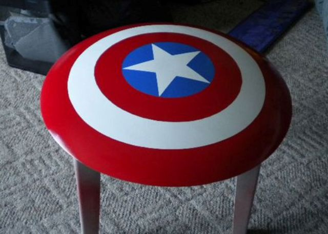 turn a usual end table into a Captain America shield