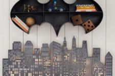 19 Batman open shelving for a boy's room and a cute wall light