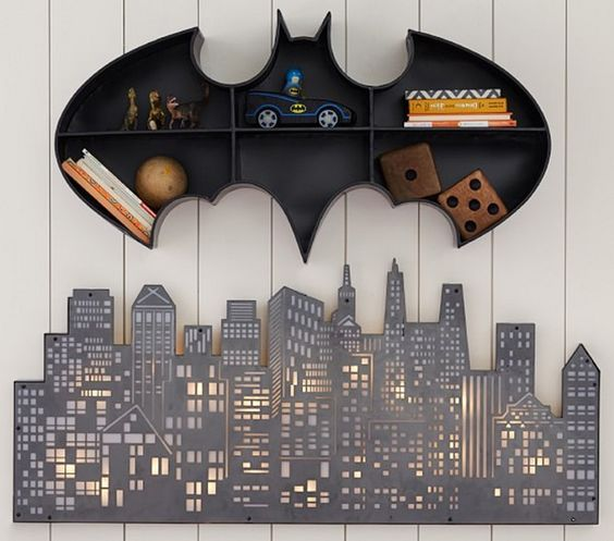 Batman open shelving for a boy's room and a cute wall light