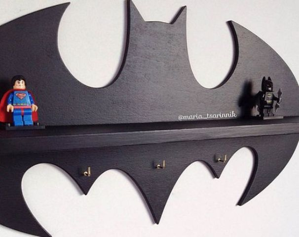 Batman shelf for a kids' room can be used for toys and other things