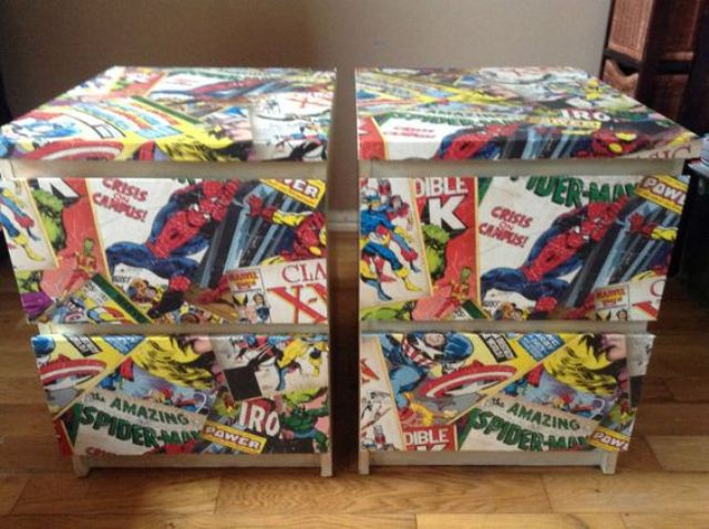 decoupage Spiderman comics cabinets as nightstands for a superhero bedroom