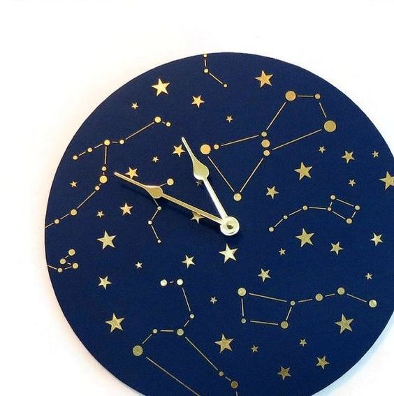 navy and gold constellation wall clock