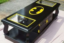 21 black and neon yellow Batman coffee table with drawers and glass inserts