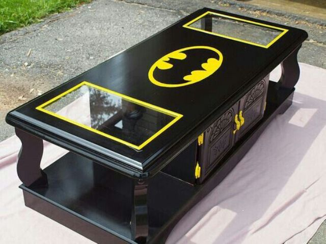 black and neon yellow Batman coffee table with drawers and glass inserts