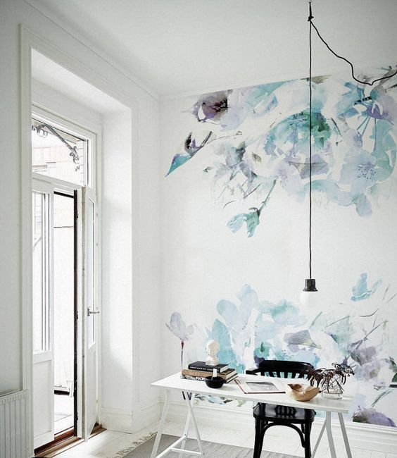 watercolor floral wallpaper makes this space feminine and chic