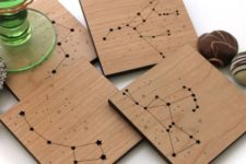 21 wooden coasters with constellation art can be a great gift