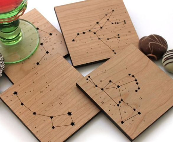 wooden coasters with constellation art can be a great gift
