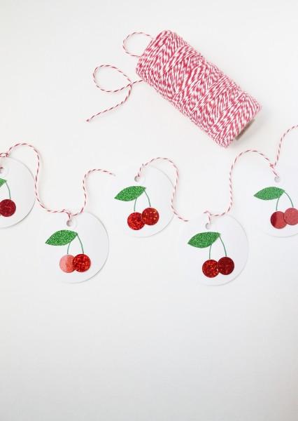 DIY glitter cherry garland (via www.burlapandblue.com)