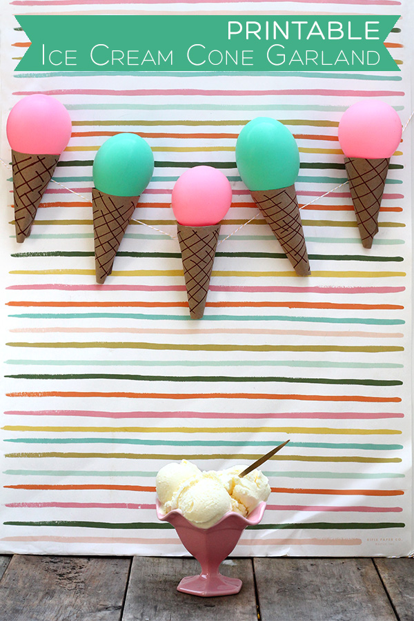 DIY printable ice cream cone garland (via squirrellyminds.com)