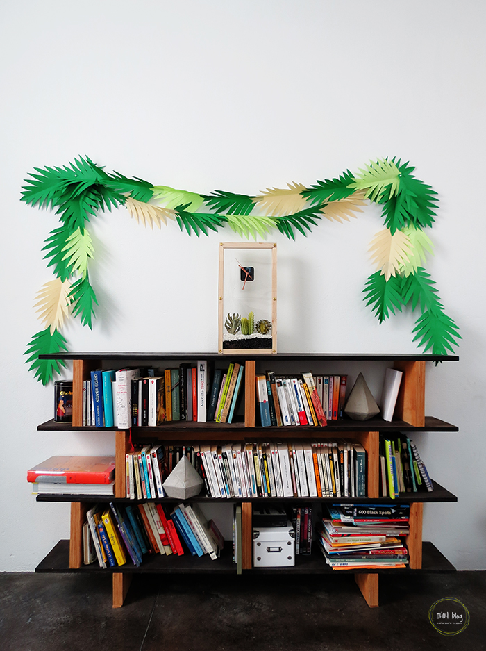 DIY palm paper leaf garland