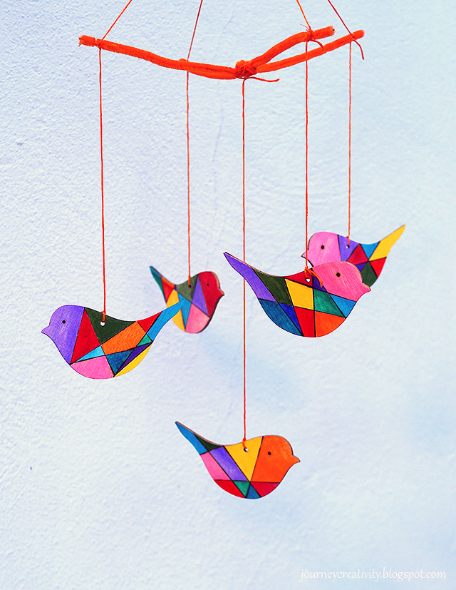 Diy Colorful Geometric Wooden Birds Mobile Via Www Shelterness