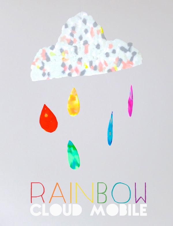DIY rainbow cloud mobile of Perler beads (via mypoppet.com.au)