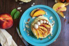 DIY almond peach pancakes with bourbon butter