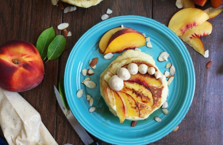 DIY almond peach pancakes with bourbon butter (via https:)