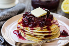 DIY lemon poppy seed pancakes with cherry compote