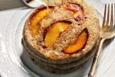 DIY spiced maple peach pancake stack
