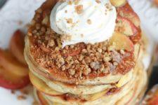 DIY peach cobbler pencakes