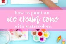 DIY watercolor ice cream cone wall art
