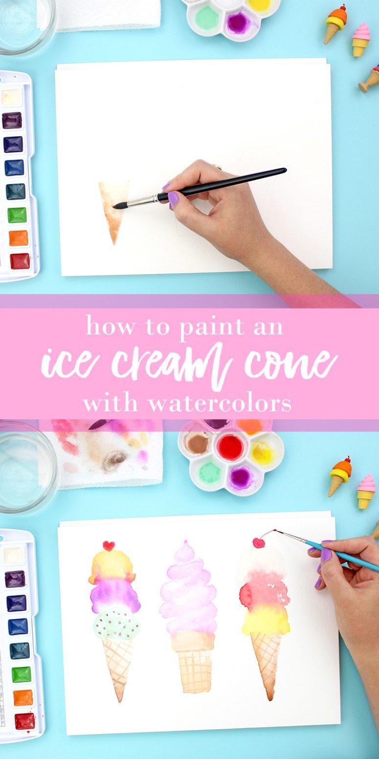DIY watercolor ice cream cone wall art (via www.linesacross.com)