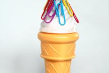 DIY magnetic ice cream cone paper clip holder