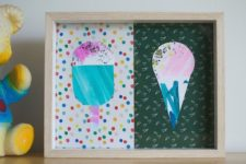 DIY watercolor ice cream artwork for summer