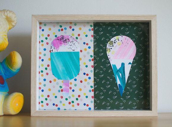 DIY watercolor ice cream artwork for summer (via patchworkcactus.typepad.com)