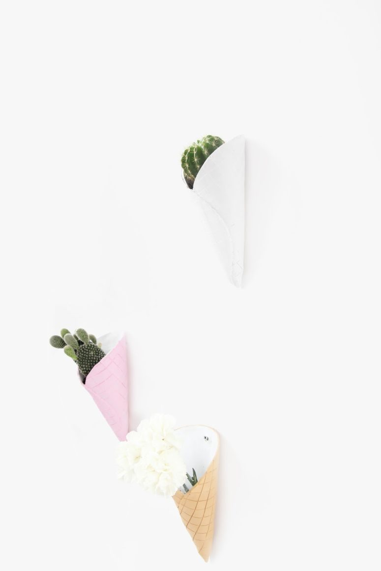 DIY ice cream cone wall planters (via www.awwsam.com)