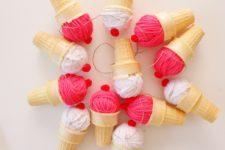 DIY 3D ice cream cone garland