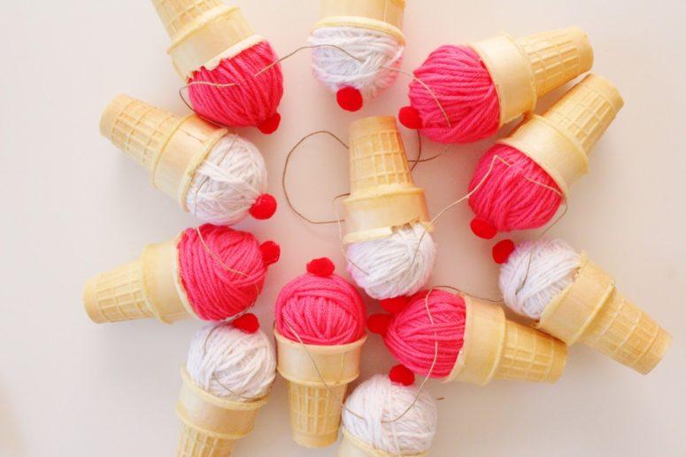 DIY 3D ice cream cone garland (via www.thehappyflammily.com)