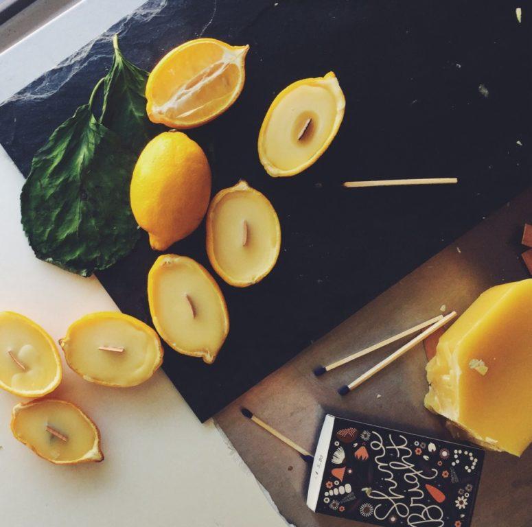 DIY lemon beeswax candles (via www.twineandtable.com)