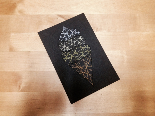 DIY ice cream cone stitch card (via https:)