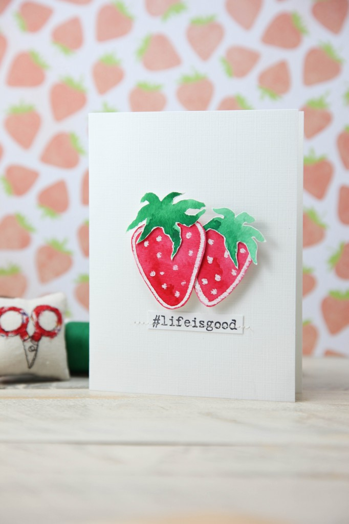 DIY watercolor strawberry card (via www.minkikim.com)